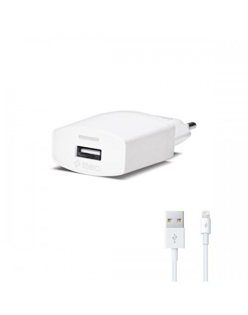 ttec Compact Seyahat Şarj Aleti Lightning Kablolu 1000mA - Beyaz