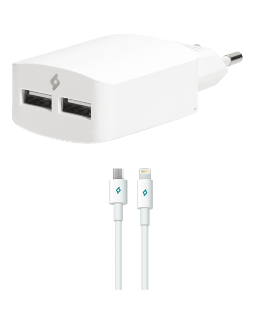 ttec SpeedCharger Duo Seyahat Şarj Aleti Çift USB 3.1A ( çift Kablo )